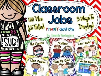 Classroom Jobs *Over 100 job titles* {Primary Chevrons} 3