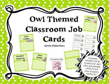 Classroom Jobs - Owl Themed with Green Polka Dots