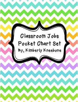 Classroom Jobs Pocket Bulletin Board/Chart Set - Neon Chevron