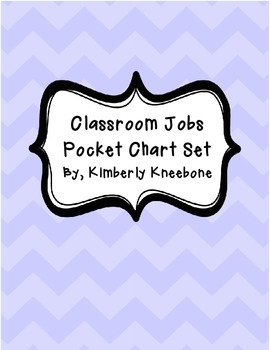 Classroom Jobs Pocket Bulletin Board/Chart Set - Pastel Chevron