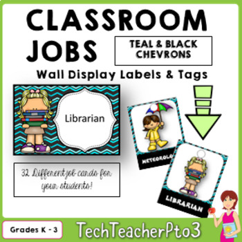 32 Classroom Jobs + Editable Templates *** Turquoise and B
