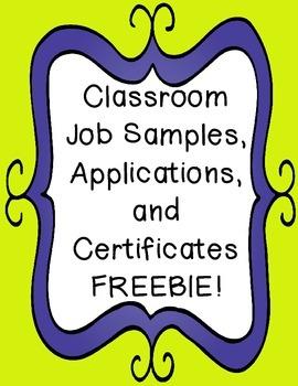 Classroom Jobs Samples, Application, & Certificates FREEBIE!