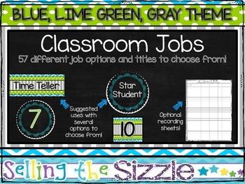 Classroom Jobs Set- Blue, Lime Green, Gray Themed