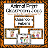 Classroom Jobs Signs with Animal Print Backgrounds
