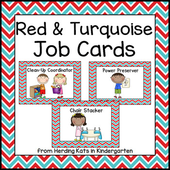 Classroom Jobs Signs with Red and Turquoise Backgrounds