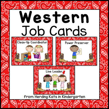 Classroom Jobs Signs with Western Cowboy Backgrounds