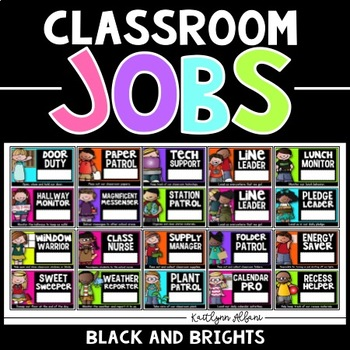 Classroom Jobs - Student Job Cards and Name Tags (Black an
