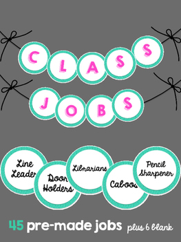 Classroom Jobs (Teal Glitter)