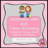 Classroom Jobs and Token Economy - Charcoal Pink -Editable