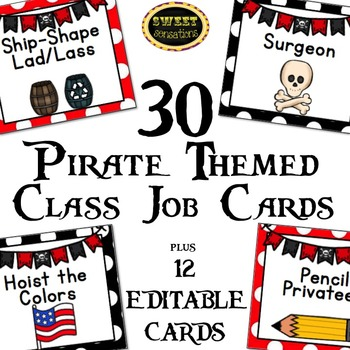 Classroom Jobs editable (Pirate Theme)