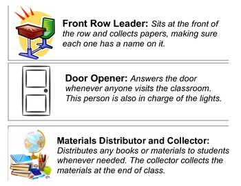 Classroom Jobs for Secondary Education