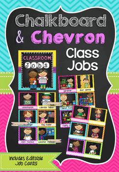 Classroom Jobs in Chalkboard & Chevron (A4 size)