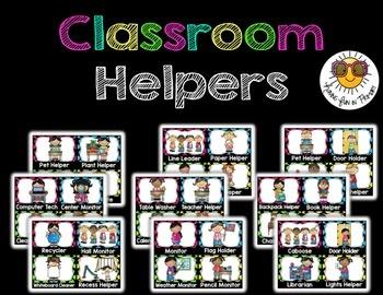 Classroom Jobs/Classroom Helper {Editable} - Black and Bri