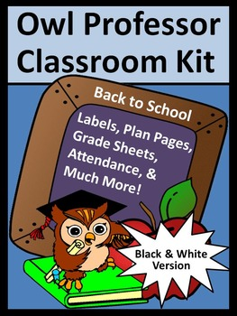 Back to School Activities: Owl Professor Lesson Planner an