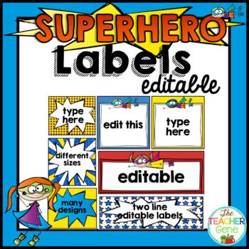 Super Hero Classroom Labels