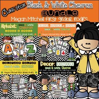 Black & White Chevron Classroom BUNDLE