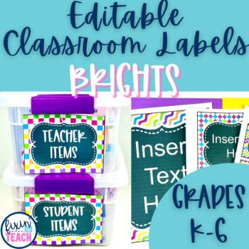 Classroom Labels {Editable} - Bright Patterns