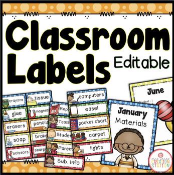 Classroom Labels - Editable {Dots Classroom Set}
