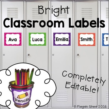 Classroom Labels Free by Megan Shea