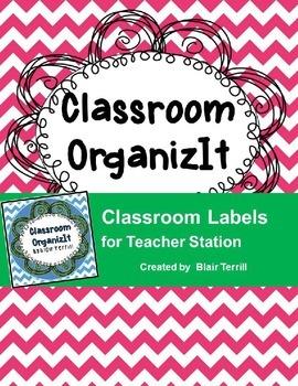 Classroom Labels Pink Chevron
