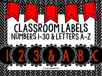 Classroom Labels- Red, Black and White