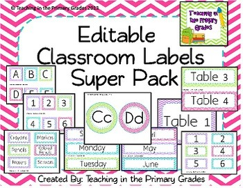Classroom Labels Super Pack- Green, Blue, Pink and Purple