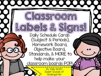 Classroom Labels and Signs!- Polka Dots