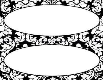 Classroom Labels and Tags, Black and White Damask