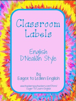 Classroom Labels - in English, D'Nealian style