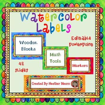 Classroom Labels Watercolor editable