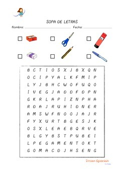Spanish Wordsearch Classroom Objects