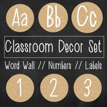 Classroom Letters and Labels - Burlap & Chalkboard