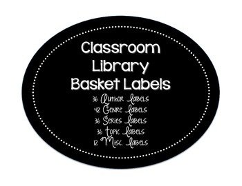 Classroom Library Basket Labels | Black & White Round Design