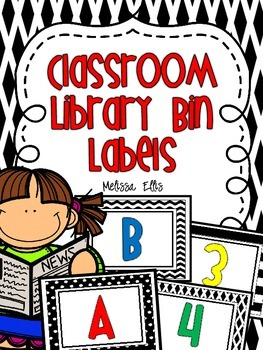 Classroom Library Bin Labels - Black and White with Primar