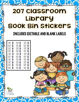 Classroom Library Book Bin/Basket Stickers (editable included)