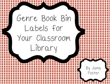 Classroom Library Book Bin Labels--red dot