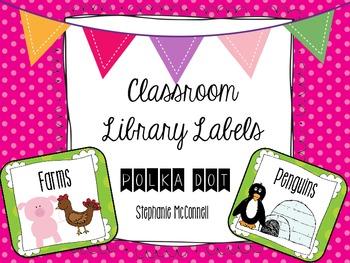 Classroom Library Book Labels-Polka Dot