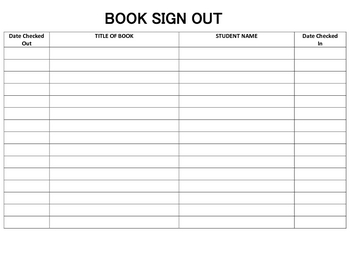 Classroom Library Book Sign Out/In Sheet by Lessons From The ...