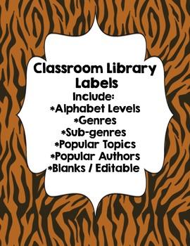 Classroom Library Genre Labels Tiger