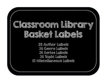 Classroom Library Basket Labels   Black & White Rectangula