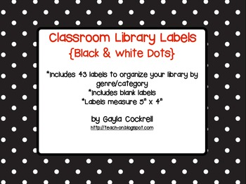 Classroom Library Labels: Black with White Dots Design