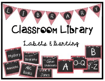 Classroom Library Labels & Bunting - Red/Black/White