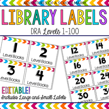 Editable Classroom Library Labels - DRA Levels