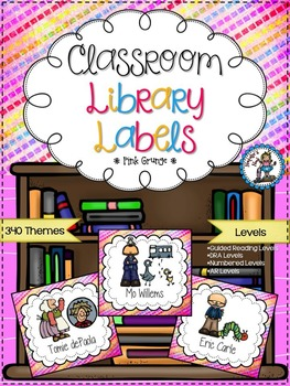 Classroom Library Labels {Pink Grunge}