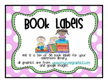 Classroom Library Labels Pink Polka dotted