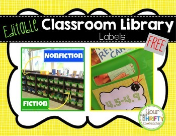 Classroom Library Labels (Yellow) FREE & EDITABLE