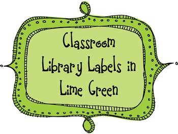 Classroom Library Labels in Lime Green