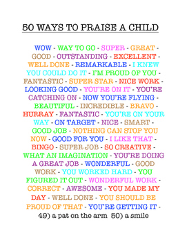 Classroom Management - 50 Ways to Praise a Child - from Sp
