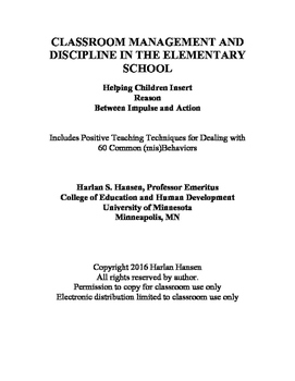 Classroom Management And Discipline in the Elementary School