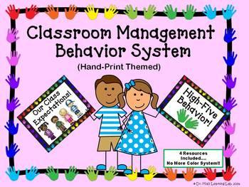 Classroom Management Behavior System Resource (Handprint Theme)